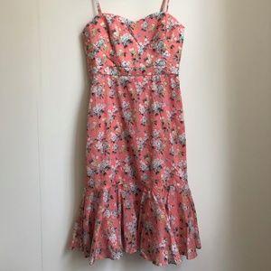 J. Crew Pink Floral Midi Dress